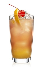 The Spiced Fruits is an orange colored cocktail made from Malibu Island Spiced rum, cranberry juice, pineapple juice and orange, and served over ice in a highball glass.