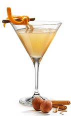The Spicy Nut is a smooth cocktail with a kick, perfect for Christmas dinner or a night by the warm fireplace. Made form Frangelico hazelnut liqueur, cinnamon and orange, and served in a chilled cocktail glass.
