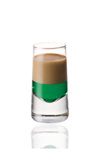 The Springbok is a green and brown colored shot made from green creme de menthe and Amarula cream liqueur, and served in a chilled shot glass.