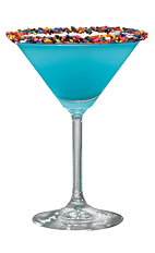 The Sprinkletini is a blue cocktail perfect for a birthday party. Made from Hpnotiq liqueur, Iced Cake vodka and champagne, and served in a chilled cocktail glass rimmed with sprinkles.