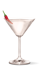 The Sriracha Martini cocktail recipe is a spicy drink made from UV Sriracha vodka and dry vermouth, and served in a chilled cocktail glass garnished with a chili pepper.