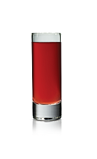The Stickiberry Shot is made from Stoli Sticki honey vodka and cranberry juice, and served in a chilled shot glass.