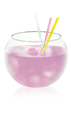 The Stiletto Sangria is a pink drink made from Hpnotiq Harmonie, white wine and club soda, and served over ice in a rocks glass.