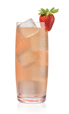 The Strasberi White Lie is made from Stoli Strasberi strawberry vodka, grapefruit juice, lemon and lime, and served in a highball glass.