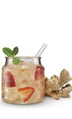 The Strawberry Ginger Ale drink recipe is made from Cruzan Strawberry rum, ginger ale, strawberries and mint, and served over ice in a rocks glass.