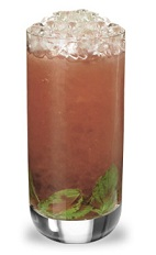 The Strawberry Mojito is a peach colored drink made from strawberry schnapps, rum, simple syrup, lime juice, mint and club soda, and served over crushed ice in a highball glass.