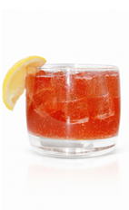 The Strawberry Stormer is a red colored drink made from Effen Strawberry Vodka, ginger beer, lemon juice and simple syrup, and served over ice in a rocks glass.