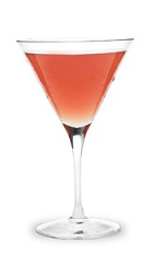 The Strawberry Tease Martini is a peach colored cocktail made from strawberry schnapps, peach schnapps and peach vodka, and served in a chilled cocktail glass.