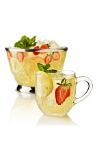 The Summer Breeze Punch is a fruity summer punch made from Beefeater gin, lemon juice, Lillet Blanc, curacao, simple syrup and tea, and served from a pitcher or punch bowl.
