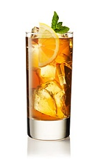 The Summer Iced Tea is an English version of an iced tea drink. An orange drink made from Beefeater gin, iced tea, mint and lemon, and served over ice in a highball glass.
