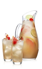 The Sundae Punch is a fruity punch perfect for any Halloween party, summer party, or any day that boredom overtakes you and your friends. Made from Malibu Sundae chocolate coconut rum, cherry liqueur, lime juice, grapefruit juice, club soda, simple syrup and citrus fruits, and served from a large pitcher or punch bowl.