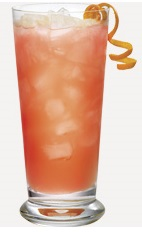 The Sunny Sangria is a red colored drink recipe made from Burnett's pink lemonade vodka, cherry vodka, lime juice, strawberry juice and lemon, and served over ice in a highball glass.
