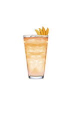 The Suspicious Fellow is a peach colored cocktail right out of the Southern United States. Made from Big House Tupelo honey bourbon, triple sec, sweet and sour sauce, lemon-lime soda and club soda, and served over ice in a highball glass.