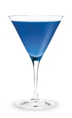 The Sweet Talker-tini is a vibrant blue colored cocktail made from Pucker Berry Fusion Schnapps, Chambord raspberry vodka, blue curacao and lime, and served in a chilled cocktail glass.
