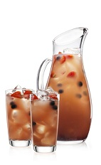 The Swirl Punch is a cloudy peach colored punch recipe perfect for Halloween cocktail parties. Made from Malibu Swirl strawberry whipped cream liqueur, lime juice, apple juice, berry iced tea, simple syrup and blueberries, and served from a large pitcher or punch bowl.