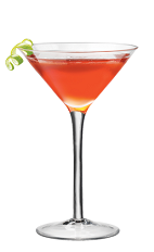 The Tequila Moon cocktail recipe is a red colored drink made from Lunazul blanco tequila, PAMA pomegranate liqueur, Cointreau orange liqueur and lime, and served in a chilled cocktail glass.