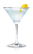 The Berried Treasure is a blue colored cocktail made from New Amsterdam red berry vodka, lemonade and white creme de cacao, and served in a chilled cocktail glass.