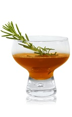 The Boss is an orange herbal cocktail made from Patron tequila, sweet vermouth, sorghum syrup and rosemary, and served in a chilled cocktail glass.
