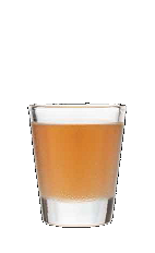 The Bumble Bee shot drink packs a punch and a sting. Made from Three Olives vanilla vodka and Drambuie, and served in a shot glass.