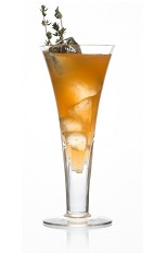 The Caorunnut cocktail is made from Caorunn gin, gomme, lemon juice, Frangelico hazelnut liqueur and club soda, and served garnished with thyme in a sling glass.