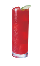 The Equalizer drink is a tall red colored drink made from Smirnoff green apple vodka and cranberry juice, and served over ice in a highball glass.