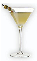The H Martini is a fruity orange cocktail made from Herradura tequila, Cointreau orange liqueur, orange juice, lime juice, lemon-lime soda and olive juice, and served with olives in a chilled cocktail glass.