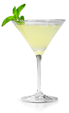 The Horseman is a yellow colored cocktail made from New Amsterdam vodka, pineapple juice, lemonade and mint, and served in a chilled cocktail glass.