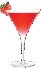 The Marilyn is a sexy red colored cocktail made from Three Olives Marilyn Monroe strawberry vodka, cranberry juice and half-and-half, and served in a chilled cocktail glass.