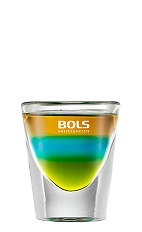The Pacific is a colorful shot made from green tea liqueur, blue curacao and brandy, and served in a chilled shot glass.