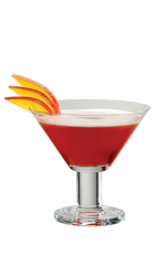 The Peacock is a red colored cocktail recipe packed full of warm and cold climate flavors. Made from PAMA pomegranate liqueur, citrus vodka, cranberry juice and sour mix, and served in a chilled cocktail glass.