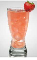 The Seersucker is a pink colored drink recipe made from Flor de Cana rum, cinnamon syrup, lemon juice, strawberry and club soda, and served over ice in a beer glass.