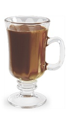 The Thrilla Java is a brown drink made from DeKuyper vanilla liqueur, hot coffee and sugar, and served in an Irish coffee glass.