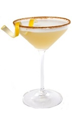 The Toasted Drop cocktail recipe is made from citrus vodka, Limoncello, amaretto, sweet and sour mix and egg white, and served in a chilled cinnamon-sugar rimmed cocktail glass.