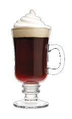 The Triple Mocha drink recipe is a brown colored dessert delight made from Three Olives Triple Shot Espresso vodka, amaretto, hot chocolate and whipped cream, and served in a warm Irish coffee glass.