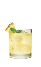 The Tropical Storm drink is made from Smirnoff Coconut vodka, lime juice, pineapple and bitters, and served over ice in a rocks glass.