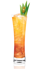 The Tropix Storm is an exotic orange colored drink made from Tropix liqueur, rum, lime juice and ginger beer, and served over ice in a Collins glass.