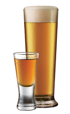 The Tuaca Brew is a combination of Tuaca vanilla citrus liqueur and pilsner beer, and served in a shot glass and beer glass.