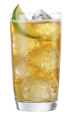 The Tuaca Ginger Lime is an orange drink made from Tuaca vanilla citrus liqueur, ginger ale and lime, and served over ice in a highball glass.