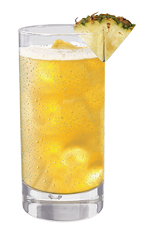 The Tuaca Pineapple is an orange drink made from Tuaca vanilla citrus liqueur, pineapple juice and fresh pineapple, and served over ice in a highball glass.