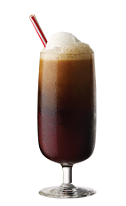 The Tuaca and Root Beer is a frothy brown cocktail made from Tuaca vanilla citrus liqueur, root beer and ice cream, and served in a parfait glass.