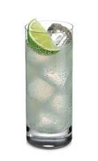 The Twisted Ginger is a clear colored drink made from Ketel One vodka, lime juice and ginger beer, and served over ice in a Collins glass.
