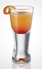 The Twisted Hurricane shot recipe is an orange colored drink made from Seagram's Peach Twisted gin, Red Berry Twisted gin, orange juice, grenadine and lemon-lime soda, and served in a chilled shot glass.