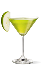 The Appletini cocktail recipe is made from UV apple vodka and sour mix, and served with an apple wedge in a chilled cocktail glass.