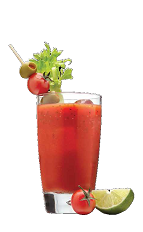 The Ultimate Spicy Bloody Mary drink recipe is the perfect morning-after cocktail made from Three Olives vodka, tomato juice, Tabasco sauce and Worcestershire sauce, and served over ice in a highball glass.