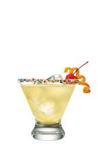 The Upside Down Cake drink is made from Smirnoff Iced Cake vodka, orange juice, pineapple juice and club soda, and served in a sprinkle-decorated rocks glass.