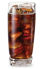 The Vanilla Coin is a brown drink made from vanilla liqueur and Coke, and served over ice in a highball glass.