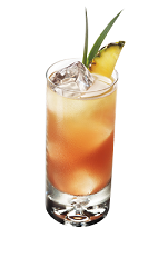 The Vanilla Escape drink is made from Smirnoff vanilla vodka, pineapple juice, sour mix and raspberry liqueur, and served over ice in a collins glass.