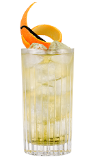 The Vanilla Ginger Ale drink is made from Galliano Vanilla and ginger ale, orange and vanilla, and served over ice in a highball glass.