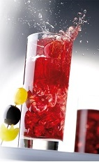The Vendanges is an exciting red colored drink made from Joseph Cartron creme de cassis, Joseph Cartron ginger liqueur, grape juice, cherry syrup, vodka and ginger ale, and served over ice in a highball glass.