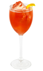 The Vodka First Glance is a red colored cocktail made from Effen vodka, Aperol, grapefruit juice, pomegranate juice, lemon juice, simple syrup and Prosecco, and served over ice in a wine glass.